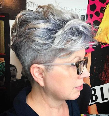 Pixie Women Undercut Gray