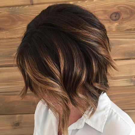 Brown Hair Color, Bob Balayage Brown Dark