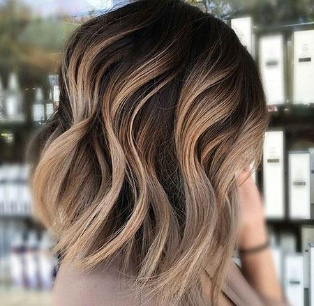 Bob Hair, Balayage Color Bronde Tips