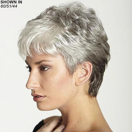 Grey Hair Color, Short Wig Plus Pixie