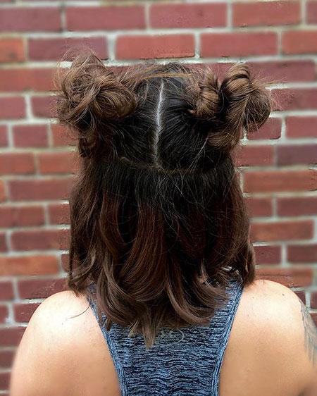 Cute Hairtyle for Short Hair, Short Buns Bun Wavy
