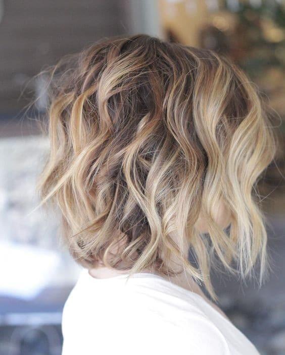 Balayage Shoulder Length Hairstyles - Messy, Curly Haircut