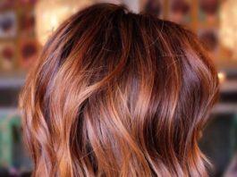 Auburn balayage on brown hair