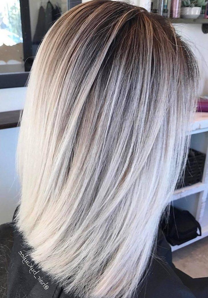 Blonde balayage bob straight