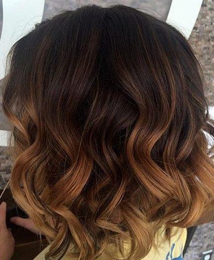Caramel balayage short hair