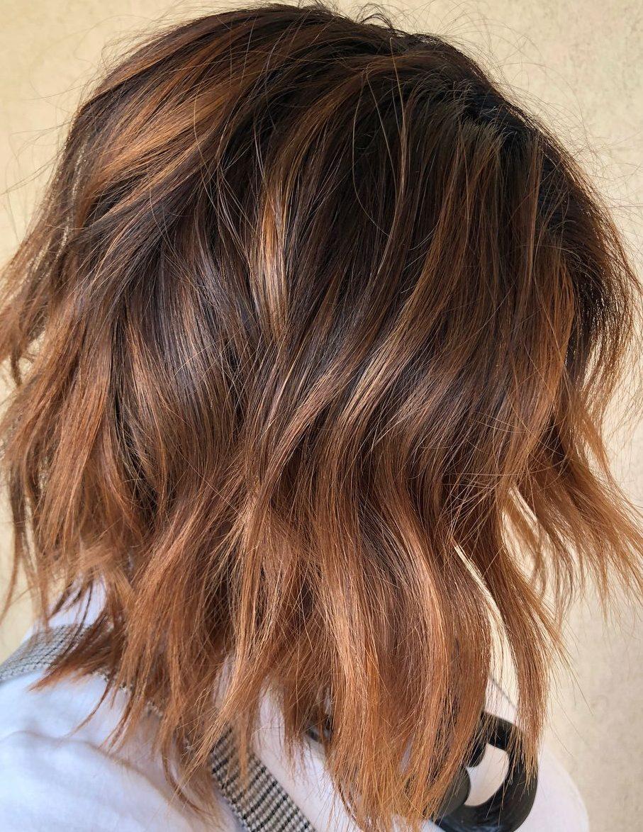 Caramel copper balayage short hair