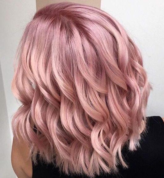 Champagne pink pastel pink hair short