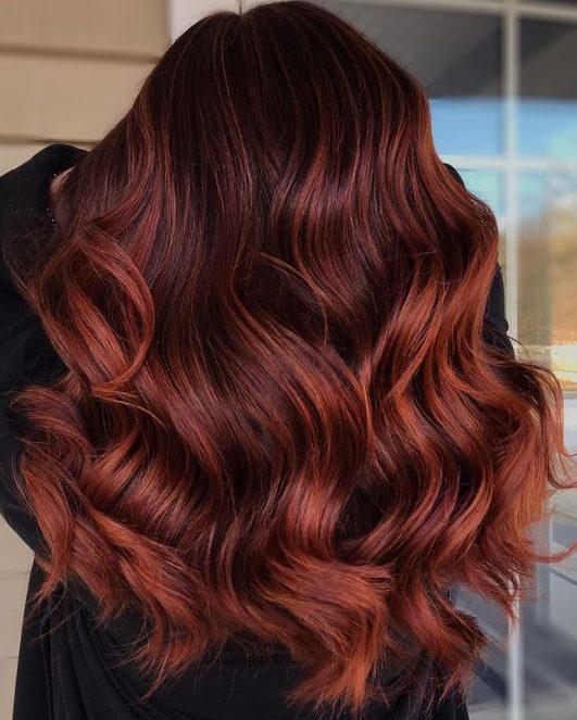 Copper balayage on brown hair