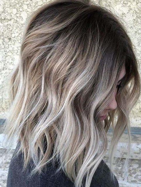 Dark blonde hair with highlights for short hair