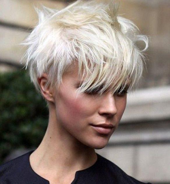 Edgy short platinum blonde hair