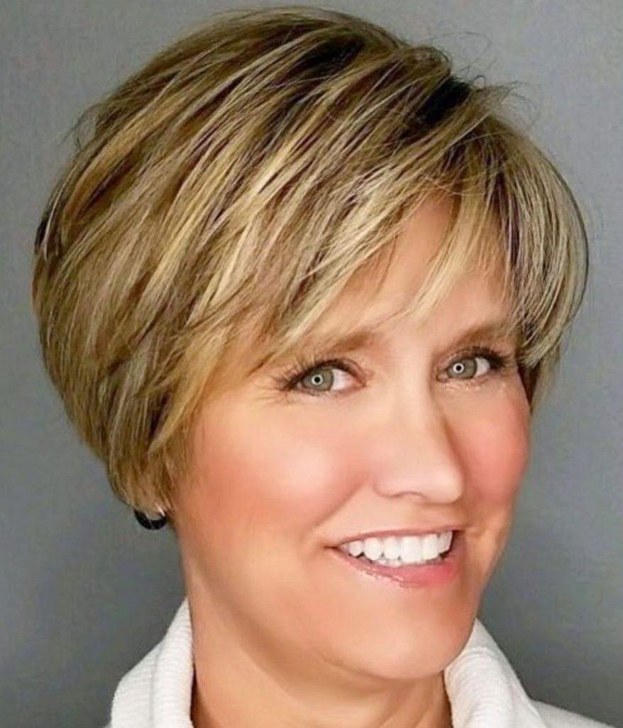 Fine hair short bobs for older women