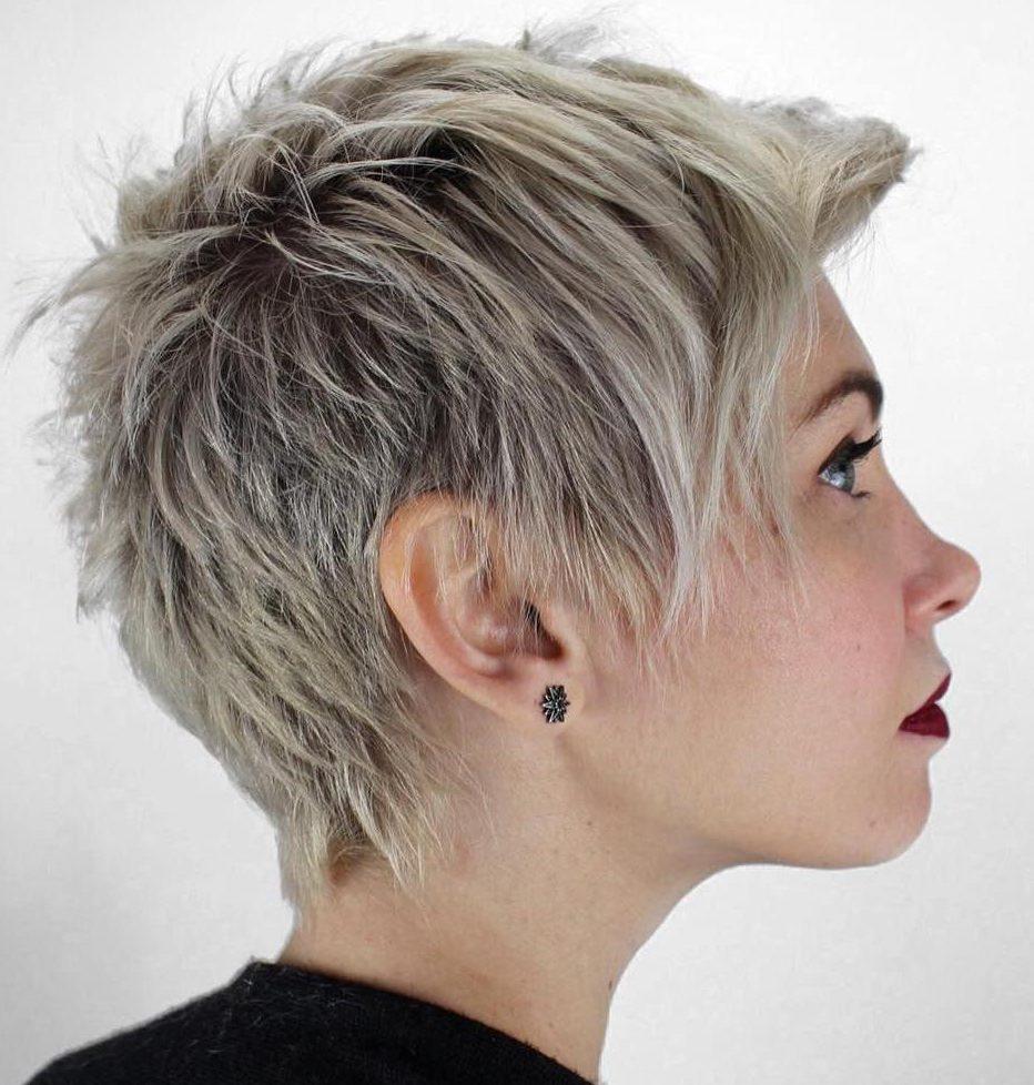 Pixie short platinum hair