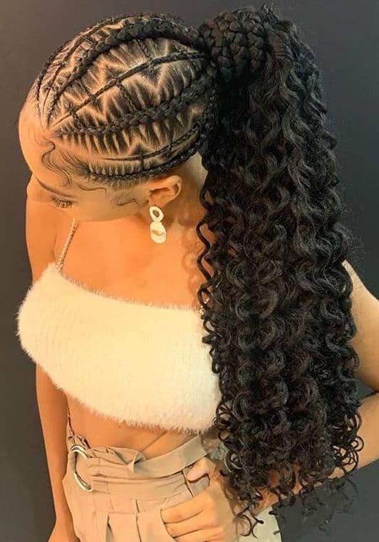 Ponytail black braided hairstyles