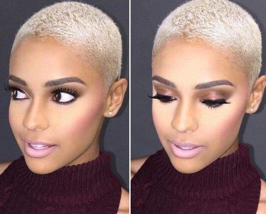 Short platinum blonde hair on black girl