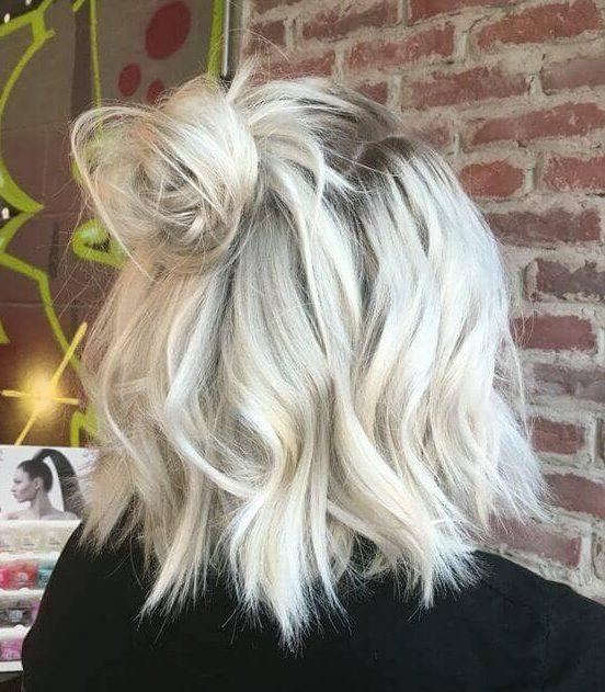 Short shoulder length short platinum hair