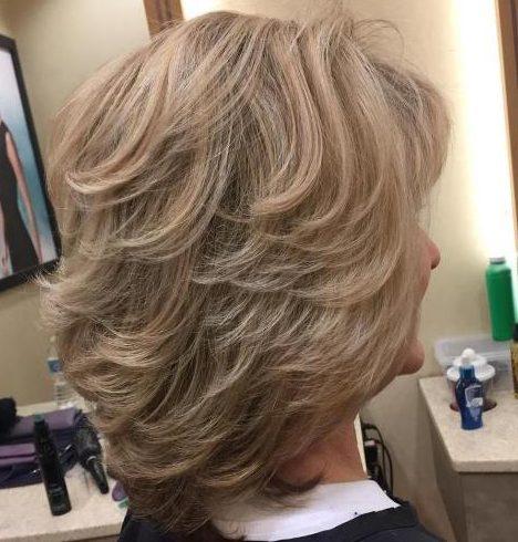Shoulder length blonde hair over 50