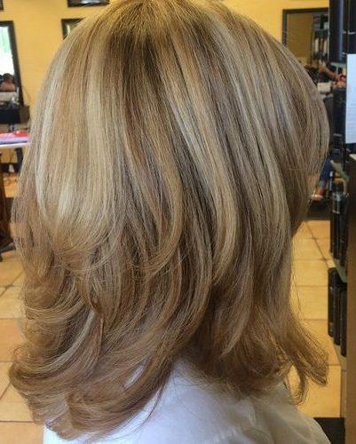 Shoulder length long layered hair over 50