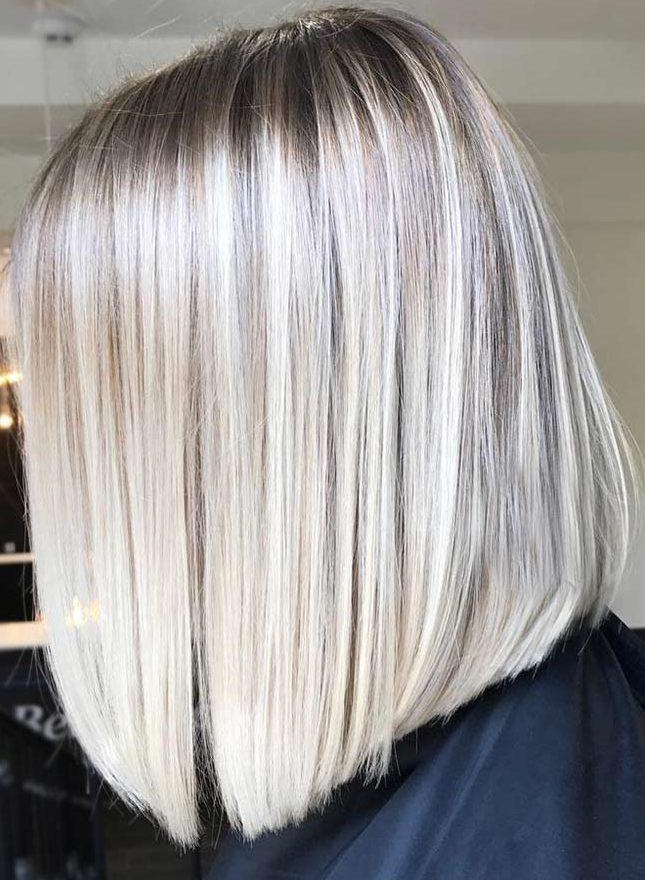 Shoulder length platinum blonde short hair