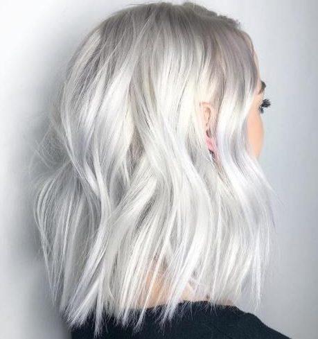 Shoulder length short platinum hair