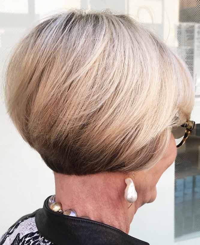 Thick hair short bob haircuts for older women