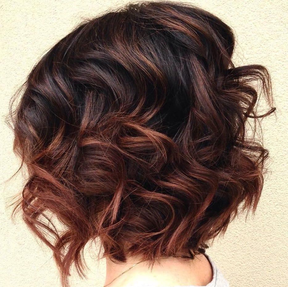 Auburn balayage short hair