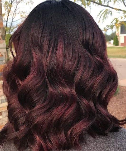 Auburn copper balayage short hair