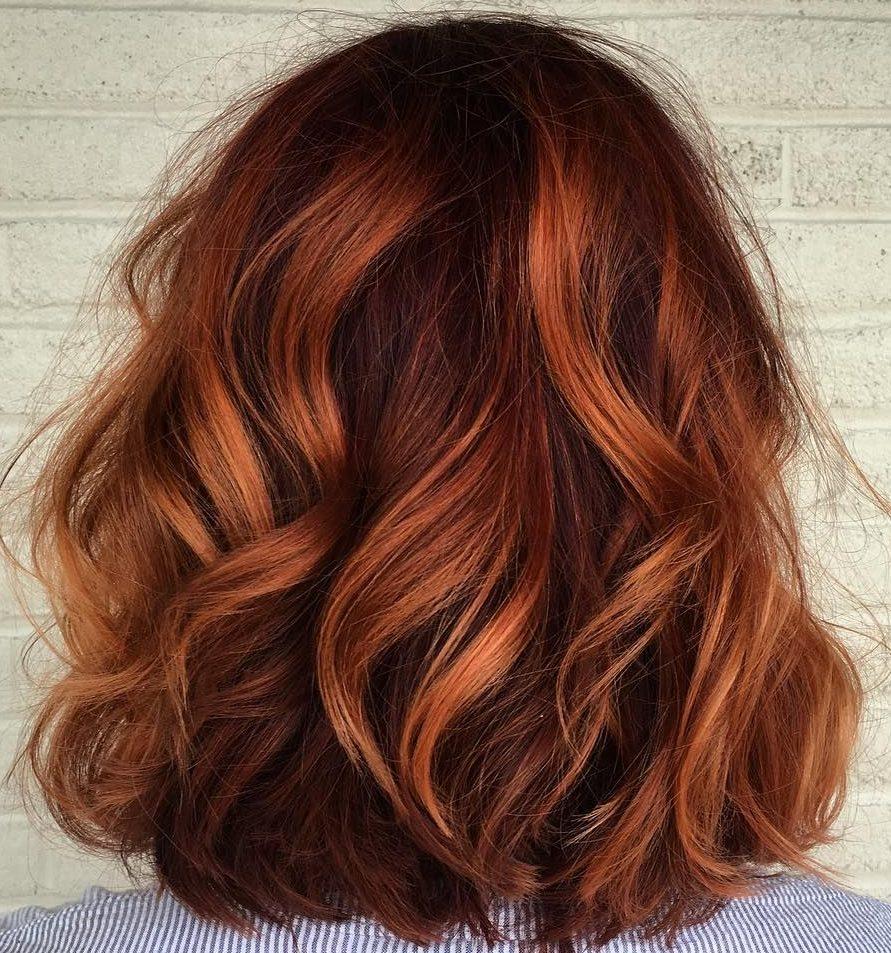 Auburn copper balayage short hair shoulder length