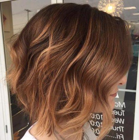 Caramel auburn balayage short hair