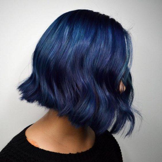 midnight blue black to blue short hair