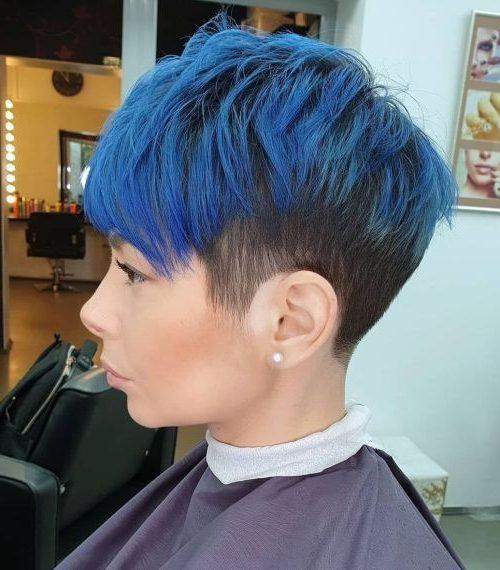 royal blue blue ombre short pixie hair