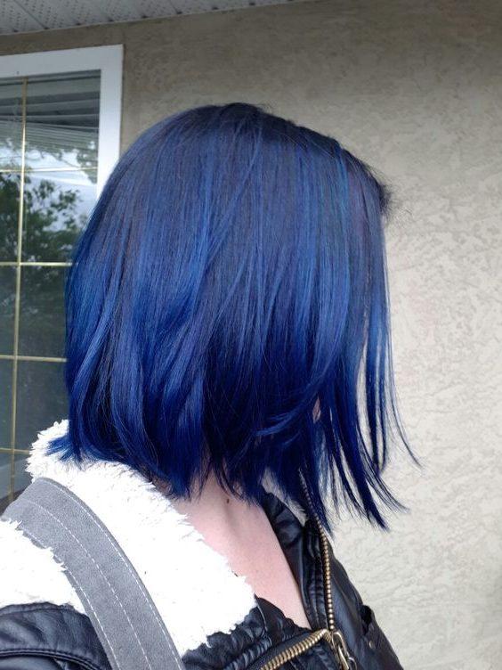 short dark blue hair