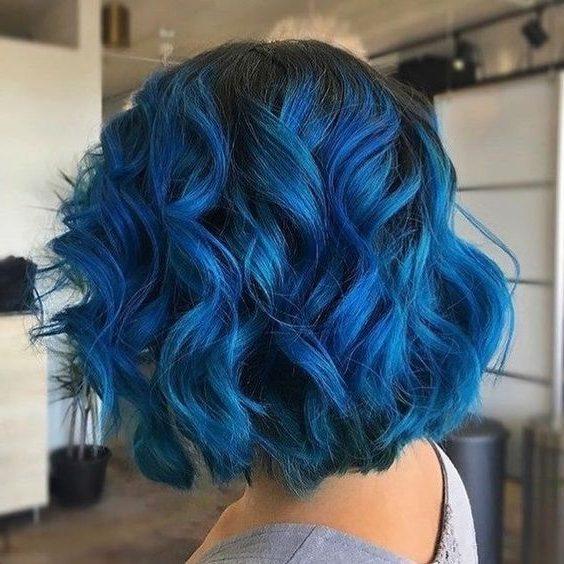 short dark blue to light blue hair