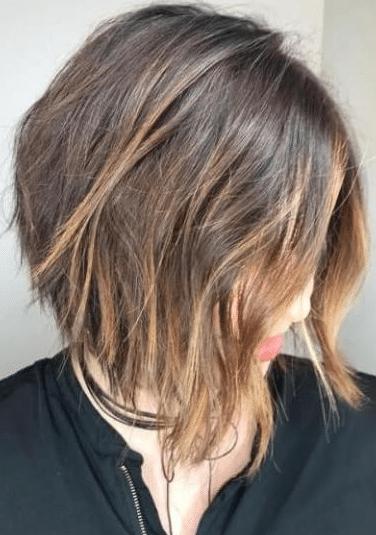 Shoulder length balayage short straight hair
