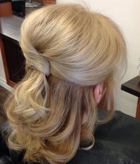 Shoulder length wedding hairstyles for older brides
