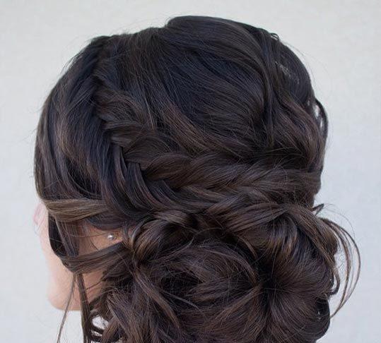 Side bun with curls