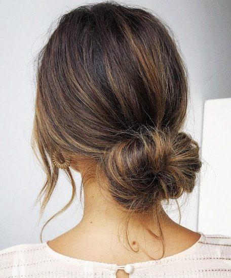 Simple side bun hairstyle