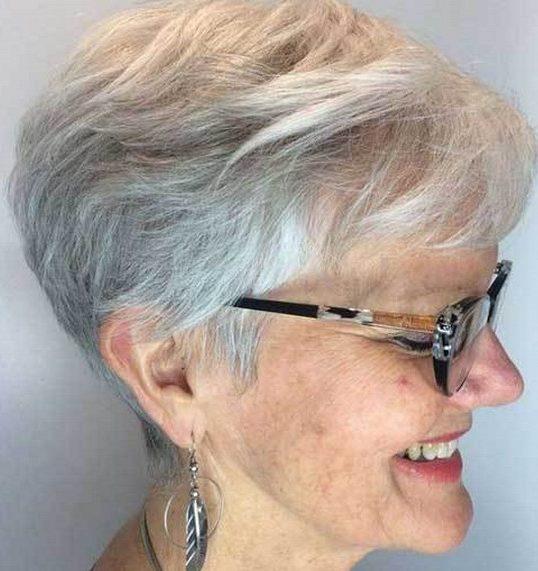 Thin hair pixie haircuts for older women