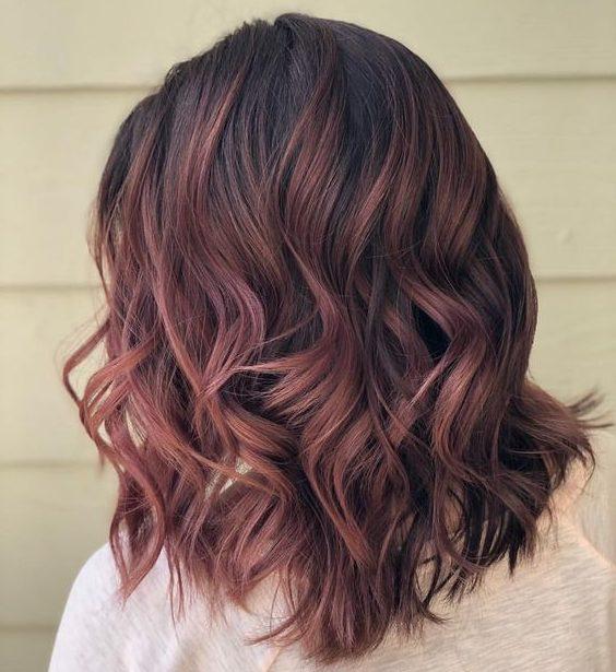brown rose gold brown hair color