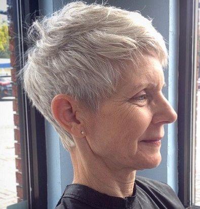 Fine hair pixie haircuts for older women