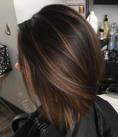 Brown straight short hair
