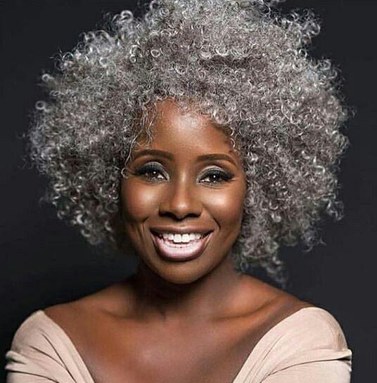 Natural gray hair african american