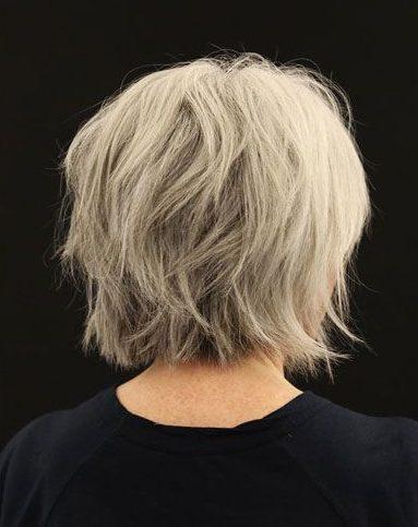 Thin hair layered bob for fine hair over 50