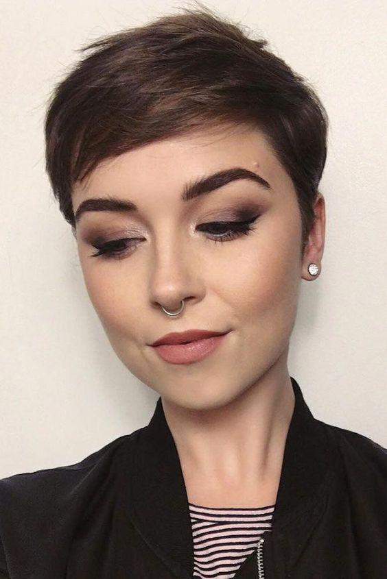 short brown hair pixie