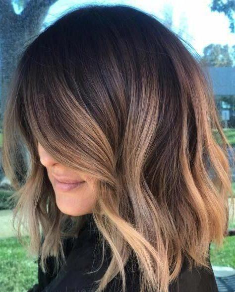 Caramel light brown balayage short hair